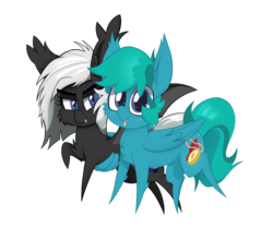Size: 2400x2000 | Tagged: safe, artist:dragonpone, derpibooru exclusive, oc, oc only, oc:compass rose, oc:stargazer, bat pony, pegasus, pony, 2018 community collab, derpibooru community collaboration, cheek fluff, chest fluff, duo, ear fluff, fangs, female, hug, lidded eyes, looking at you, male, mare, open mouth, raised hoof, simple background, smiling, spread wings, stallion, transparent background, winghug, wings
