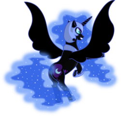 Size: 1832x1756 | Tagged: alicorn, artist:malte279, ethereal mane, female, free to use, mare, nightmare moon, nightmare moonbutt, pony, rearing, safe, simple background, solo, spread wings, starry mane, transparent background, vector, wings