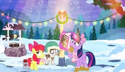 Size: 900x517   Tagged: safe, artist:pixelkitties, apple bloom, pipsqueak, twilight sparkle, alicorn, book, bow, christmas, christmas lights, clothes, holiday, lights, pole, scarf, snow, tongue stuck to pole, twilight sparkle (alicorn), well, winter, wreath