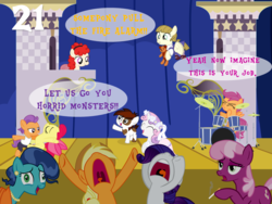 Size: 1024x768 | Tagged: safe, artist:bronybyexception, apple bloom, applejack, cheerilee, mrs. paleo, pipsqueak, rarity, scootaloo, sweetie belle, tender taps, twist, zippoorwhill, pony, advent calendar, christmas, cigarette, colt, dirty dancing, female, filly, holiday, male, mare, play, smoking, stage