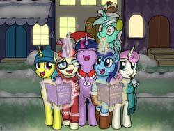 Size: 1280x960 | Tagged: safe, artist:mkogwheel, lemon hearts, lyra heartstrings, minuette, moondancer, twilight sparkle, twinkleshine, pony, unicorn, background pony, bell, canterlot, canterlot six, caroling, christmas, clothes, counterparts, female, figgy pudding, glowing horn, hat, holiday, irrational exuberance, it's a pony kind of christmas, levitation, magic, magic aura, mare, mouth hold, music notes, santa hat, scarf, smiling, snow, sweater, telekinesis, twilight's counterparts, we wish you a merry christmas