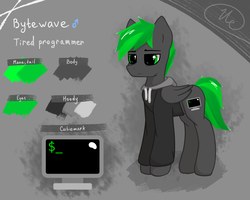 Size: 2000x1600 | Tagged: safe, artist:keupoz, oc, oc only, oc:bytewave, clothes, reference sheet, simple background, solo