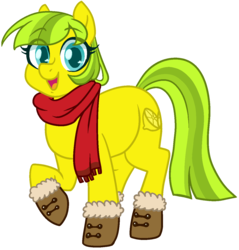 Size: 1236x1293 | Tagged: safe, artist:/d/non, oc, oc only, oc:lemon drop, earth pony, pony, 2018 community collab, derpibooru community collaboration, booties, clothes, female, heart eyes, looking at you, raised hoof, scarf, simple background, solo, transparent background, wingding eyes