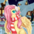 Size: 1000x1000 | Tagged: safe, artist:assa-chan, fluttershy, pegasus, pony, blushing, christmas, clothes, cute, earmuffs, female, hair over one eye, head tilt, holiday, looking away, looking up, mare, outdoors, ponyville, scarf, shyabetes, sitting, smiling, snow, solo, street, wings, winter, winter outfit, wintershy