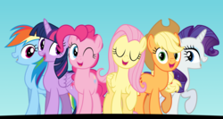 Size: 3750x2000 | Tagged: alicorn, applejack, artist:tomfraggle, fame and misfortune, female, flawless, fluttershy, friends, group, mane six, mare, one eye closed, pinkie pie, pony, rainbow dash, rarity, safe, singing, smiling, spoiler:s07e14, twilight sparkle, twilight sparkle (alicorn), wink