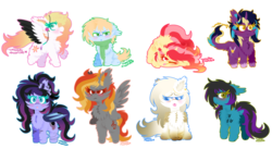 Size: 1024x561 | Tagged: safe, artist:vanillaswirl6, oc, oc only, oc:angelica, oc:despy, oc:ember (cinnamontee), oc:evening eclipse, oc:midnight fairytale, oc:pretty shine, oc:shiro, oc:tridashie, bat pony, earth pony, pony, bipedal, blushing, chest fluff, chibi, christmas gift, clothes, cloven hooves, colored pupils, cute, dock, ear fluff, feather, female, floppy ears, flower, fluffy, folded wings, gift art, group, leonine tail, looking at you, male, mare, open mouth, scarf, simple background, sitting, spread wings, squishy cheeks, stallion, tongue out, transparent background, wings