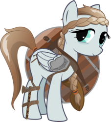 Size: 7200x7941 | Tagged: safe, artist:cinderfall, oc, oc only, oc:northsky, pegasus, pony, 2018 community collab, derpibooru community collaboration, absurd resolution, axe, braid, female, mare, shield, simple background, transparent background, vector, weapon