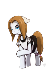 Size: 700x1000 | Tagged: 2018 community collab, artist:nicestile, clothes, derpibooru community collaboration, female, maid, mare, oc, oc:garin, oc only, pegasus, pony, safe, shy, simple background, transparent background