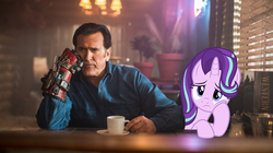 Size: 970x545 | Tagged: safe, artist:dashiesparkle, artist:ejlightning007arts, screencap, starlight glimmer, ash williams, bored, bruce campbell, clothes, crossover, cup, evil dead, gloves, irl, photo, plant, ponies in real life, saucer, sitting, vector