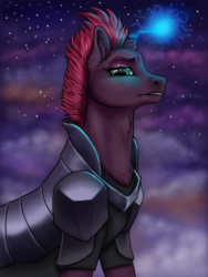 Size: 600x800 | Tagged: armor, artist:graffiti, female, glowing horn, my little pony: the movie, night, safe, solo, tempest shadow