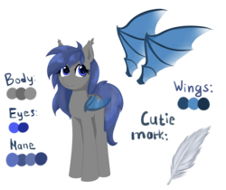 Size: 2184x1836 | Tagged: safe, artist:afuna, oc, oc only, oc:midnight feathers, bat pony, pony, bat pony oc, cutie mark, feather, female, mare, reference sheet, simple background, solo, standing, transparent background, transparent wings
