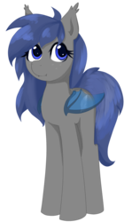Size: 842x1411 | Tagged: safe, artist:afuna, oc, oc only, oc:midnight feathers, bat pony, pony, bat pony oc, feather, female, mare, simple background, solo, standing, transparent background, transparent wings