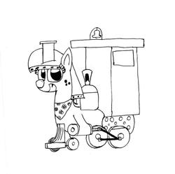 Size: 908x906 | Tagged: safe, artist:bronytrainman, oc, oc only, oc:lilly bell, train pony, handkerchief, locomotive, solo, train, trainpony, whistle