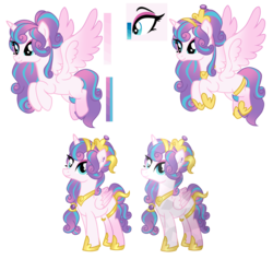 Size: 3169x3000   Tagged: safe, artist:xxmissteaxx, princess flurry heart, alicorn, crystal pony, pony, alternate hairstyle, armor, blank flank, breastplate, crown, crystallized, female, flying, high res, jewelry, mare, older, regalia, smiling, solo, spread wings, wings