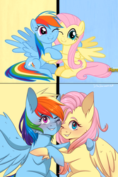 Size: 1800x2700 | Tagged: artist:silbersternenlicht, blushing, cheek fluff, cute, fame and misfortune, female, fluttershy, hug, looking at you, mare, one eye closed, pegasus, pony, rainbow dash, safe, scene interpretation, screencap, smiling, spoiler:s07e14, we're not flawless