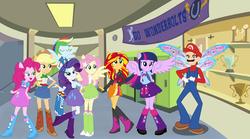 Size: 2918x1623 | Tagged: safe, artist:atomicmillennial, artist:fundz64, artist:theshadowstone, artist:user15432, applejack, fluttershy, pinkie pie, rainbow dash, rarity, sunset shimmer, twilight sparkle, alicorn, fairy, human, equestria girls, barely eqg related, canterlot high, crossover, equestria girls style, equestria girls-ified, fairy wings, hasbro, hasbro studios, high school, humane five, humane seven, humane six, mane six, maridash, mario, mariopie, nintendo, ponied up, pony ears, super mario bros., super smash bros., twilight sparkle (alicorn), winged humanization, wings