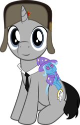 Size: 1800x2794   Tagged: safe, artist:eagle1division, trixie, oc, oc only, oc:ragtime melody, pony, unicorn, 2018 community collab, derpibooru community collaboration, hat, looking at you, male, necktie, plushie, simple background, sitting, smiling, solo, soviet, stallion, transparent background, ushanka, vector