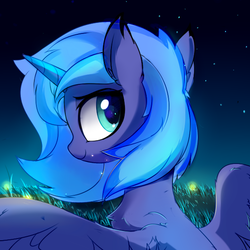Size: 590x590 | Tagged: safe, artist:aureai, princess luna, alicorn, firefly (insect), pony, bust, chest fluff, cute, ear fluff, female, filly, happy, looking at you, looking back, looking back at you, lunabetes, night, s1 luna, sketch, smiling, solo, spread wings, starry night, stars, wing fluff, wings, woona, younger