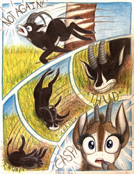Size: 1064x1380   Tagged: safe, artist:thefriendlyelephant, oc, oc only, oc:sabe, oc:uganda, antelope, giant sable antelope, comic:sable story, acacia tree, africa, animal in mlp form, cloven hooves, comic, dust, fwump, horns, savanna, speed lines, thud, traditional art, trip, tumbling