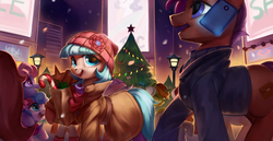 Size: 3300x1700 | Tagged: safe, artist:luciferamon, coco pommel, earth pony, pony, bag, candy cane, cellphone, christmas, christmas tree, clothes, coat, cocobetes, cute, female, hat, holiday, jacket, lamp, lamppost, looking at you, magic, manehattan, mare, open mouth, phone, scarf, smartphone, smiling, snow, telekinesis, tree, winter