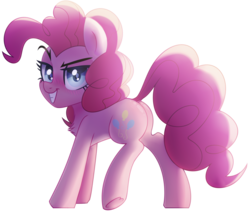 Size: 2835x2411 | Tagged: safe, artist:starrcoma, pinkie pie, earth pony, pony, evil grin, female, grin, looking at you, mare, plot, simple background, smiling, solo, transparent background