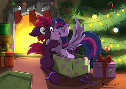 Size: 3508x2480 | Tagged: safe, artist:rainihorn, fizzlepop berrytwist, tempest shadow, twilight sparkle, alicorn, pony, unicorn, my little pony: the movie, blushing, boop, broken horn, christmas, christmas stocking, christmas tree, christmas wreath, clothes, cute, eye scar, eyes closed, featured image, female, fireplace, floppy ears, frown, holiday, horn, kissing, lesbian, mare, mistletoe, nose kiss, nose wrinkle, noseboop, open mouth, present, scar, shipping, sitting, smiling, spread wings, stockings, surprise kiss, surprised, tempestlight, thigh highs, tree, twilight sparkle (alicorn), wide eyes, wings, wreath