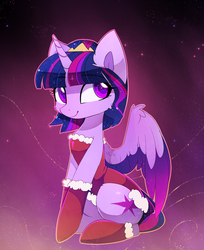 Size: 1252x1532 | Tagged: safe, artist:magnaluna, twilight sparkle, alicorn, pony, abstract background, alternate hairstyle, blue mane, blue tail, cheek fluff, christmas, clothes, colored pupils, colored wings, colored wingtips, costume, crown, cute, cutie mark, ear fluff, eyelashes, female, holiday, horn, jewelry, long tail, looking away, mare, multicolored mane, multicolored tail, pink mane, pink tail, purple mane, purple tail, regalia, santa costume, short mane, sitting, smiling, solo, stars, tail, twiabetes, twilight sparkle (alicorn), wing fluff, wings