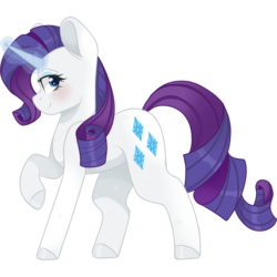 Size: 2048x2048 | Tagged: safe, artist:cinnamontee, rarity, pony, unicorn, blushing, female, glowing horn, magic, mare, raised hoof, simple background, smiling, solo, transparent background