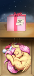 Size: 1417x3133 | Tagged: safe, artist:alcor, fluttershy, pegasus, pony, :o, air holes, alcor is trying to murder us, box, cheek fluff, christmas, curled up, cute, daaaaaaaaaaaw, dock, ear fluff, eyes closed, female, folded wings, gift horse, hat, hnnng, holiday, leg fluff, mare, on side, open mouth, pony in a box, present, santa hat, shoulder fluff, shyabetes, sleeping, smiley face, solo, underhoof, weapons-grade cute, wing fluff, zzz