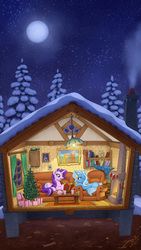 Size: 2000x3556   Tagged: safe, artist:1jaz, applejack, big macintosh, starlight glimmer, trixie, twilight sparkle, alicorn, pony, unicorn, american gothic, bill cipher, book, bookshelf, bottle, cabin, chimney, christmas, christmas tree, couch, cross section, curtain, duo focus, featured image, female, fireplace, full moon, gravity falls, high res, holiday, house, interior, lazytown, light, lucky cat, maneki neko, mare, mein kampf, moon, night, open mouth, pinecone, present, programming, prone, reading, sky, smiling, snow, starry night, stars, tree, twilight sparkle (alicorn), we are number one, when you see it, window, winter