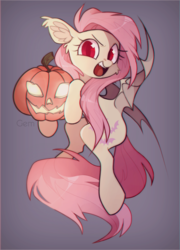 Size: 1442x2000 | Tagged: safe, artist:angrygem, fluttershy, bat pony, pony, bat wings, boo, cute, ear fluff, female, flutterbat, gradient background, halloween, head turn, holiday, hoof hold, jack-o-lantern, looking at you, mare, open mouth, pumpkin, race swap, red eyes, shyabates, shyabetes, solo, spread wings, wings