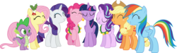 Size: 25536x7700 | Tagged: absurd res, a hearth's warming tail, alicorn, applejack, artist:frownfactory, christmas, dangerously high res, dragon, earth pony, eyes closed, female, fluttershy, hearth's warming, hearth's warming eve, holiday, male, mane six, mare, pegasus, pinkie pie, pony, rainbow dash, rarity, safe, simple background, spike, starlight glimmer, transparent background, twilight sparkle, twilight sparkle (alicorn), unicorn, vector
