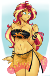 Size: 1996x3020 | Tagged: safe, artist:ambris, sunset shimmer, equestria girls, abs, bandeau, belly button, bicolor swimsuit, big breasts, bikini, black swimsuit, breasts, busty sunset shimmer, cleavage, clothes, cutie mark swimsuit, female, jeweled swimsuit, long hair, sarong, sexy, smiling, solo, summer sunset, swimsuit, thigh gap, underass