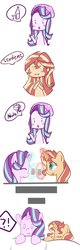 Size: 382x1199 | Tagged: safe, artist:yuck, starlight glimmer, sunset shimmer, human, pony, unicorn, equestria girls, comic, dream, drink, female, glowing horn, lesbian, shimmerglimmer, shipping, sleeping, toasting
