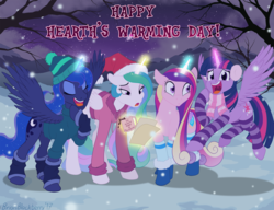 Size: 1564x1203 | Tagged: alicorn, alicorn tetrarchy, artist:brianblackberry, caroling, clothes, coffee, coffee mug, cute, cutedance, cutelestia, earmuffs, eyes closed, female, flying, glowing horn, leg warmers, looking at you, lunabetes, magic, mare, mug, open mouth, pony, princess cadance, princess celestia, princess luna, royal sisters, safe, scarf, singing, smiling, socks, stockings, striped socks, telekinesis, thigh highs, twiabetes, twilight sparkle, twilight sparkle (alicorn)