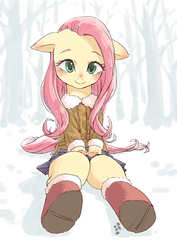 Size: 1000x1414 | Tagged: safe, artist:yanamosuda, fluttershy, pegasus, pony, blushing, boots, clothes, cute, female, looking at you, mare, outdoors, shoes, shyabetes, sitting, skirt, smiling, snow, solo, tree, winter, winter outfit