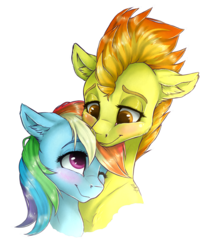 Size: 3655x4415 | Tagged: safe, artist:gaelledragons, rainbow dash, spitfire, pony, blushing, bust, cute, ear fluff, female, floppy ears, lesbian, mare, one eye closed, shipping, simple background, smiling, spitdash, transparent background