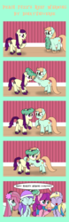 Size: 2112x6736 | Tagged: safe, artist:dinkyuniverse, boysenberry, bubblegum brush, dinky hooves, lily longsocks, liza doolots, peach fuzz, petunia, tootsie flute, earth pony, pony, unicorn, blushing, braid, braided tail, chest fluff, christmas wreath, clothes, comic, cute, dinkily, earmuffs, female, filly, foal, grin, hat, hearth's warming, hearth's warming eve, hnnng, holiday, house, hug, lesbian, looking at you, mouth hold, pigtails, raised hoof, scarf, shipping, smiling, talking to viewer, unshorn fetlocks, winter, winter outfit, wreath