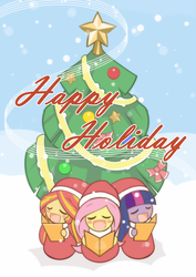 Size: 1000x1414 | Tagged: artist:howxu, blushing, caroling, christmas, christmas tree, clothes, cute, equestria girls, eyes closed, fluttershy, holiday, howxu is trying to murder us, safe, shimmerbetes, shyabetes, snow, sunset shimmer, tree, trio, twiabetes, twilight sparkle, winter