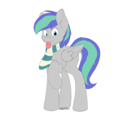 Size: 1280x1280 | Tagged: safe, artist:kundofox, oc, oc only, oc:storm feather, pegasus, pony, 2018 community collab, derpibooru community collaboration, :p, clothes, cute, raised hoof, scarf, silly, simple background, tongue out, transparent background