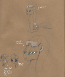 Size: 1800x2110 | Tagged: safe, artist:brisineo, fizzlepop berrytwist, starlight glimmer, tempest shadow, twilight sparkle, alicorn, pony, unicorn, my little pony: the movie, :3, :p, annoyed, broken horn, bust, christmas, colored pencil drawing, cute, dialogue, eye contact, eye scar, female, frown, glare, hat, holiday, horn, it chrismas, lidded eyes, looking at each other, mare, merry christmas, mind break, misspelling, open mouth, paper, santa hat, scar, simple background, sitting, smiling, starry eyes, tempestbetes, text, tongue out, traditional art, unamused, wingding eyes