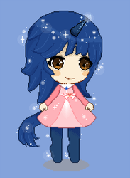 Size: 1000x1366 | Tagged: safe, artist:moonrabbit, oc, oc only, oc:starlight blossom, satyr, unicorn, clothes, cute, dress, female, filly, pixel art, satyrized, solo