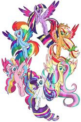 Size: 1333x2000 | Tagged: safe, artist:aiyanmanno, applejack, fluttershy, pinkie pie, rainbow dash, rarity, twilight sparkle, alicorn, pony, alicornified, applecorn, fluttercorn, mane six alicorns, pinkiecorn, race swap, rainbow power, rainbowcorn, raricorn, simple background, twilight sparkle (alicorn), white background, xk-class end-of-the-world scenario