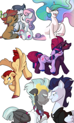 Size: 3000x5000 | Tagged: safe, artist:heyerika, button mash, fizzlepop berrytwist, flash magnus, princess celestia, rumble, soarin', sweetie belle, tempest shadow, thunderlane, twilight sparkle, alicorn, pony, my little pony: the movie, backbend, bisexual, crying, eyes closed, female, gay, grumpy, kiss on the cheek, kiss sandwich, kissing, laughing, lesbian, looking at each other, male, marriage, ot3, polyamory, ponies riding ponies, rumbelle, rumbellemash, rumblemash, shipping, smiling, smirk, soarilane, straight, sweetiemash, tempestlight, twilight sparkle (alicorn), unshorn fetlocks, wedding
