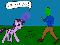 "Size: 4000x3000 | Tagged: safe, anonymous artist, twilight sparkle, oc, oc:anon, alicorn, human, pony, /mlp/, 4chan, angry, because horses instinctively fear snakes that's why, colored, death threat, dialogue, drawthread, duo, female, horses doing horse things, magic, mare, outdoors, prank, simple background, the old fake snakes in the ""mixed nuts"" can prank, threat, twilight sparkle (alicorn)"