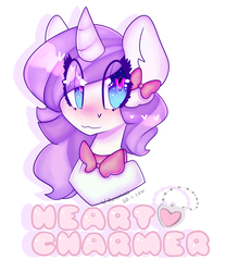 Size: 2500x3000 | Tagged: :3, artist:bunxl, bow, bowtie, bust, hair bow, heart eyes, oc, oc:heart charmer, oc only, pony, safe, simple background, solo, unicorn, wingding eyes