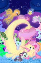 Size: 1024x1583 | Tagged: artist:mscolorsplash, fish, fluttershy, octopus, pony, safe, seaponified, seapony fluttershy, seapony (g4), solo, species swap, turtle