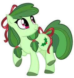 Size: 786x826 | Tagged: artist:mscolorsplash, bow, colored hooves, earth pony, hair bow, holly, oc, oc only, oc:ribbon wreath, pony, ribbon, safe, simple background, smiling, solo, tail bow, transparent background