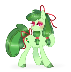 Size: 923x941 | Tagged: artist:nemovonsilver, bow, colored hooves, earth pony, hair bow, holly, lidded eyes, oc, oc only, oc:ribbon wreath, pony, ribbon, safe, smiling, solo, tail bow