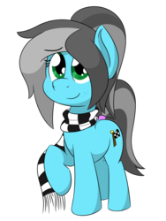 Size: 900x1200 | Tagged: safe, artist:glimglam, oc, oc only, oc:pole position, earth pony, pony, 2018 community collab, derpibooru community collaboration, clothes, female, looking at you, mare, ponytail, raised hoof, scarf, simple background, smiling, solo, transparent background